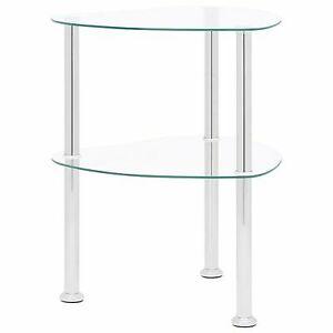 Glass Table Metal Corner Furniture Modern Storage Shelf Retro Stand Room Display