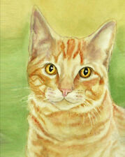 ORANGE TABBY CAT PORTRAIT Art Print from Watercolor by Artist P. Tarlow