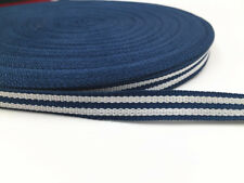 10Yards Of 1cm Webbing White Blue stripe Colours Bags,Straps,Crafts,Leads