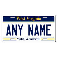 US Metal License Plate - West Virginia - Customise your own plate