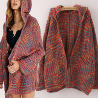 Women Winter Knitted Sweater Thick Warm Jumper Knitwear Top Hooded Cardigan Coat