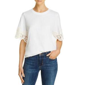 See by Chloe Womens Jewel Neck Cp T-Shirt BHFO 8634