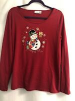 Kim Rogers Christmas Knit Top Womens Red Size S Snowmen Long Sleeve T Shirt Ugly