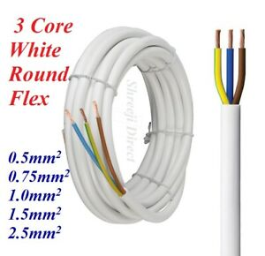 White 3 Core Flex 0.5mm 0.75mm 1.0mm 1.5mm 2.5mm Mains Wire Cable Electric 3183Y