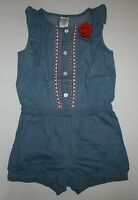 New Gymboree Girls Cute on the Coast Embroidered Denim Romper NWT 2T 3T 4T 5T