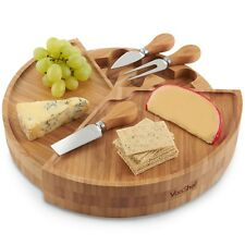 VonShef Cheese Serving Board 3 Tier Fold Out Bamboo Wood & 3 Piece Knife Set