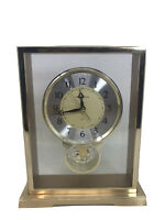 HOWARD MILLER RIVIERA 612230 METAL MANTLE TABLE CLOCK W/ SPINNING WHEEL - BRASS