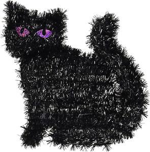 Halloween Black Tinsel Cat Standing Decoration 1 pc