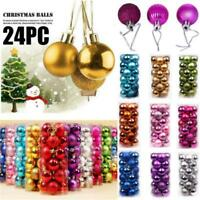 24 Pieces Christmas Xmas Tree Ball Bauble Home Party Ornament Hanging Decor 30mm