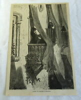 1882 magazine engraving ~ LADIES IN A BALCONY AT GRANADA Spain