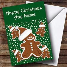 Green Gingerbread Man Christmas Greetings Card Personalised
