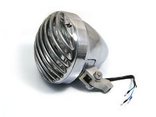 "6 1/2"" Polished Aluminium Universal Prison Headlight For Harley Chopper Project"