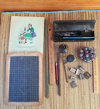 Lot de matériel ecolier vintage,ardoise , régle , sac de billes , déco vintage