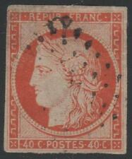 "FRANCE  STAMP TIMBRE N° 5 a "" TYPE CERES 40c ORANGE VIF 1850 "" OBLITERE TB"