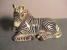 Vintage 1986 Hand-Painted Mexican Lacquer Zebra Lying Down Figurine - Tanala Jal