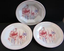3 SAN MARCIANO CERAMIC SWEET DISHES WITH PINK AND MAUVE LILLIES