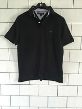 VINTAGE RETRO TOMMY HILFIGER MENS URBAN SHORT SLEEVE BLACK POLO TOP SIZE SMALL
