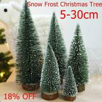 Mini Sisal Bottle Brush CHRISTMAS Tree Santa Snow Frost Village Putz House Top