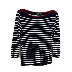 Lauren Ralph Lauren Women's Red Black/White Striped Sweater Size S
