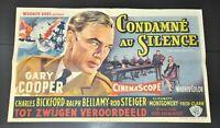"""ONE MAN MUTINY GARY COOPER CHARLES BICKFORD ORIGINAL BELGIAN MOVIE 14X22"""" POSTER"""