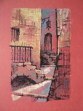 Dessin Gouache sur Papier Paysage Village Ruelle c.1950 Y. MILIN #7