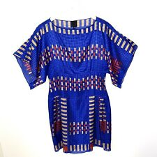 ANNA SUI Geometric Silk Cotton Gingham Women's Boatneck Dress, Size Small
