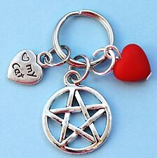 Cat Collar Charm Pentagram Red Acrylic Heart & Love My Cat Heart New LB35