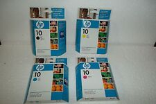 LOT-4 HP #10 InkJet Cartridges C4844A C4843A C4842A C4841A CMYB 2500C 2000C NEW