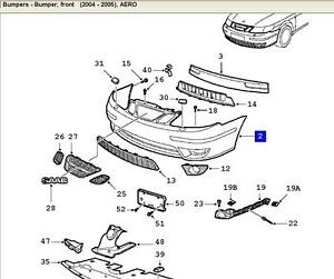 Saab 9-5 Aero 2004-2005 Front Bumper Cover without Washers Genuine NEW 32016184