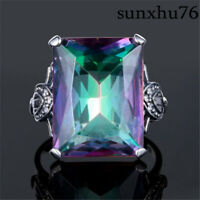 Jewelry 4.3CT Mystic Rainbow Topaz Wedding Engagement 925 Silver Plated Ring