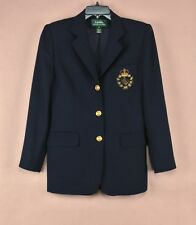 Women's Lauren Ralph Lauren 100% Wool Blazer Made In The USA Navy Blue Size 8