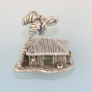 Hawaii Grass Tiki Hut Shack with Palm Tree 3D 925 Sterling Silver Charm