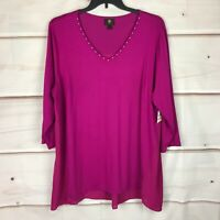 JM Collection Plus Size 3/4 Sleeve Studded V-Neck Womens 3X Knit Blouse Pink Top