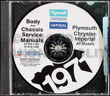 1971 Plymouth Shop Manual CD Fury GTX Satellite Sebring Road Runner Barracuda