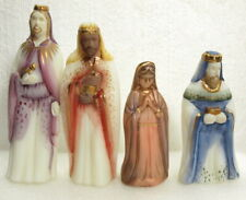 """FENTON 4 PC NATIVITY SET """"MARY AND 3 WISE MEN"""" HANDPAINTED AND SIGNED"""
