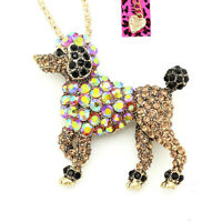 Betsey Johnson Cute Crystal Poodle Dog Pendant Chain Animal Necklace/Brooch Pin