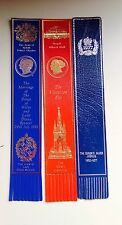 3 Leather Bookmark Comemorating The Marriage Of Prince Of Wales/queens Jubilee /