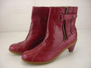 Womens UK 6 US 8 Dr. Martens Magdalena Red Leather Booties Fringe Zip Ankle Boot