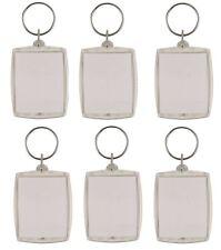 6 x Clear Acrylic Plastic Passport Insert Photo Keyring Personalise Keychain