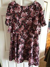 Floral Chiffon Aline Dress Size 14 Monsoon Pink, Red , Black