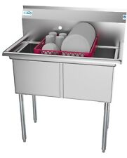 2 Two Compartment Nsf Stainless Steel Commercial Kitchen Prep Amp Utility Sink 36