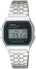Casio Vintage A159W Retro Silver Stainless Steel Digital Unisex Watch Large Silv
