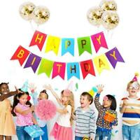 Happy Birthday Bunting Banner 1st 18th 21st 30th 40th Party AU 50th Balloon O1L7