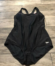 Speedo Womens Black Side Shirred One Piece Swimsuit Medium
