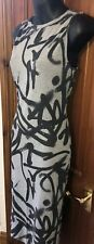 BLACK GREY BODYCON DRESS UK 10 Top Shop Grafitti Midi Hardly Worn