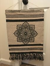 """18"""" x 23"""" Black and Off-White Flower Tapestry With Fringe"""