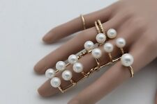 Jewelry Long Finger Imitation Pearl Beads Women Gold Metal Set 5 Rings Fashion