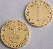 1936-1939 Set of 6 24k Gold Plated German Coins Including Siliver