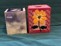 Handmade Needlepoint Plastic Canvas Soft Floral Tissue Box Cover Pink