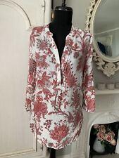 Gharani Strok London Boho Ivory & Red Linen Tunic/Kaftan top - size UK10